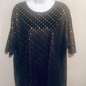 Lularoe Black Velvet Tunic With Gold Stars - Large
